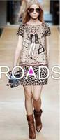 2014 New Summer Fashion Anime Shopping Leopard Chiffon Round Collar Short Sleeve Casual Cute Carton Dress in Hot Sale 19121