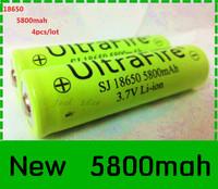 Promotion 4pcs Ultrafire 18650 rechargeable battery 5800mah li ion Battery 3.7v lithium-ion batery batteri led Flashlight diy