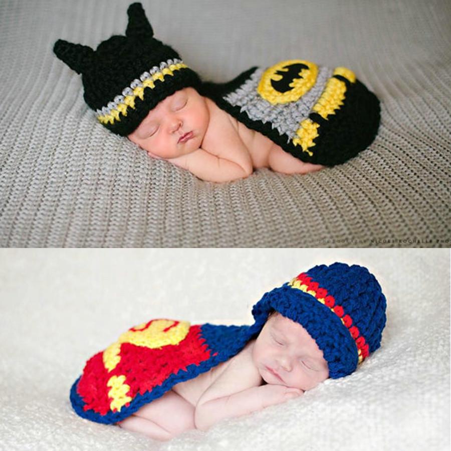 Baby Photography Props Infant Superman Batman Manual Knitting Clothing Newborn Boys Photo Props Baby Shower Gift