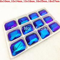 8x10mm,10x14mm,13x18mm,18x25mm,18x27mm Cobalt AB Color Rectangle Octagon Pointback Glass Crystal Fancy Stone