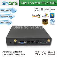 save your money windows 7 pre-installed micro pc,8GB RAM 128GB SSD,built-in dual LAN ports/HDMI/USB/VGA