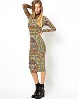 Vintage print women bodycon dress long sleeve pencil dresses 2014 new fashion women midi dress free shipping