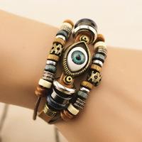 BL041 1 pc genuine leather fashion best friend retro Eyes eyeball infinity couple bracelet bangles selling,Minimum Mix Order $8