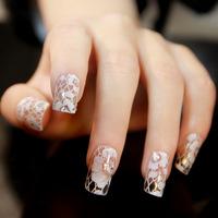Free Shipping 10pcs/Set  White Lace Design Tip Nail Art Sticker Decal Manicure Mix Order