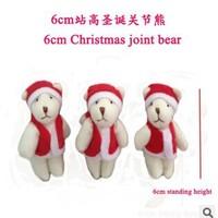 20pc 6cm Small Christmas Joints Bear Phone Pendant Wholesale,Red Hat Red Dress Bear Cartoon Plush Stuffed Toys Mini Doll