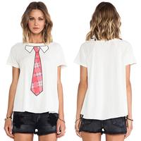 Women White Cotton  T-shirt Necktie Printed Round Collar Raglan Sleeve Short Sleeve European Style Casual Handsome Tops D533