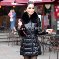 2014 fox fur sheepskin genuine leather clothing female medium-long slim outerwear fashion thicken winter coat for women by DHL