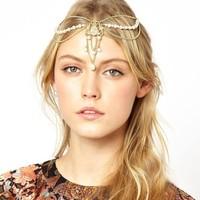 New Arrival High Quality Simulated Pearl Hair Crown Gold Chain Head Band Women Fashion Hair Jewelry