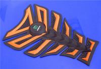 Free shipping 6pcs For DERBI BENELI  YAMAHA HONDA 3D Gas Decal Sticker Motorcycle Polyester Resin Tank Pad Protector Oranger