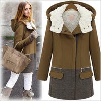 2014 Fashion Thick Plus Size Wool Coat Women Fashion Zipper Cap Winter Wadded Jacket Outerwear Female Parkas