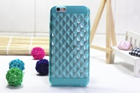 "New Fashion! For iPhone 6 6G Air 4.7"" Soft TPU Diamond Lattice Patterns Transparent Diamond Silicone Case Cover Shell MOQ20pcs"
