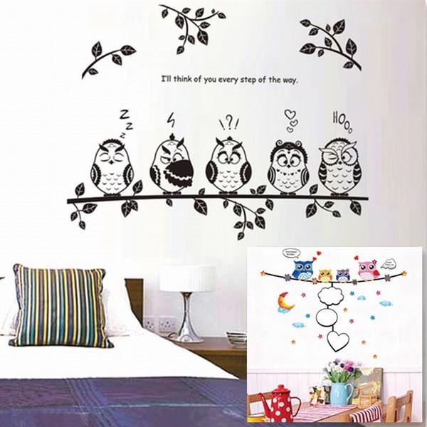 Cute Owl Birds Branch Removable Vinyl Kindergarten Nursery Kids Baby Child Bedroom Home Decor Mural DIY Wall Stickers Decal(China (Mainland))