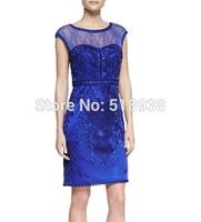 New 2014 autumn winter women elegant sheath lace embroidery cocktail dress plus size knee length blue black khaki party dresses