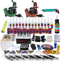 New 2 Pro Machine Guns Tattoo Kit  28 Inks Power Supply Needle Grips TK248 Free Shipping by DHL