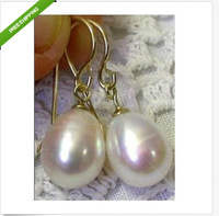 natural AAA+++ south sea white 11X13mm pearl dangle earrings 14KG