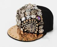 Hiphop punk hiphop cap leopard head rivet male women's hip-hop baseball cap flat brim hat