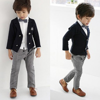 Autumn children's clothing double breasted suit formal dress child costume male clothing Jacket + shirt + pants + tie set