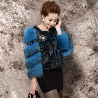 2014 women's mink fur coat raccoon fur female short o-neck design elegant coat by DHL
