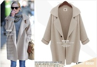 Free shipping 2014 new women's winter elegant long single button wool jacket fashion wool coat outerwear
