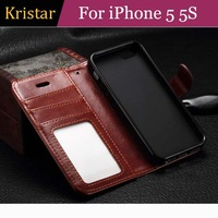 100pcs/lot Crazy Horse Series Retro Wallet Stand Card Slot Leather Case with Photo Frame For iPhone 5 5S Free Shipping