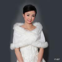 Hot Sale 17007 In Stock  wedding bridal wraps and shawls wedding accessories 2014 White Faux fur wedding bolero 2014 New Arrival