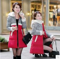 2014 Lady New Fashion Winter Berber Fleece With a Hood Color Block Decoration Female Slim Down Coat Plus size M, L,XL