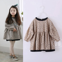 3T-7Y Europe brand baby girls dress casual full/long sleeve lantern sleeve dress outfit star printing cute tutu dresses