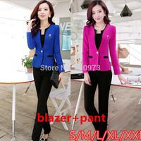 S/M/L/XXL size office wear women's trouser suit 2014 new plus size women suits with pants free shipping
