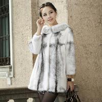 2014 best quality mink fur coat medium-long female cross marten overcoat by DHL