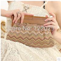 Free shipping Straw mat braiding wood handle cultch bag women's fashion colors evening bag lady Environmental protection handbag