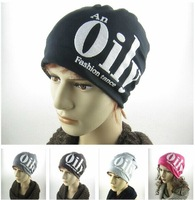 2014 new fashion Letters OILY unisex knitted turtleneck cap Autumn and winter heat preservation pile cap hat  5 colors