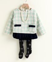 Graceful AUTUMN 2014 New arrival Girl Sweet princess dress with gold line