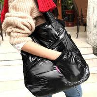 supernova sale Fashion Women winter Space bag Cotton Feather down Tote handbag shoulder bag cheap space black bag