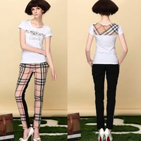 2014 England New Fashion Bow Button Decorated Girl Capris Pants Khaki Color grid Thin Lady Trousers