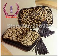 Free shipping fashion tassel high PU leather handbag big mid leopard horsehair clutch bags women's messenger bag
