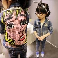 Girls fashon denim coat 2014 new kids wear girls face clothing free shipping