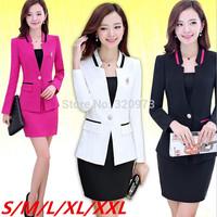 S/M/L/XXL size women work wear suit 2014 new plus size office uniform style womens business suits skirt suit free shipping