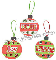 48PCS/LOT.Peach,Hope and Joy foam ornament craft kit,Christmas toys,Christmas crafts,Early educational toy.X'mas tree hanger.