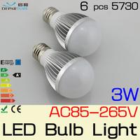 2PCS/LOT E27 E14 3W SMD5730 lampada LED Globe Bulbs ball lamp light 110V/120V/220V/230v/240V ,Warm White / White Free shipping