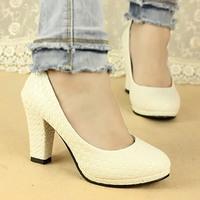 2014 spring straw braid high-heeled shoes female shoes thick heel platform work shoes single shoes female fashion