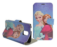 500PCS By DHL/Fedex Print Frozen Stand Cover PU Folio Case For Samsung Galaxy S5 I9600 Mobile Phone