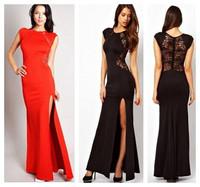 Hot Fashion Women Plus Size Lace Evening Party Long Dresses Bodyon Split Brief Sleeveless Dress Vestidos de Fiesta Gowns 12045