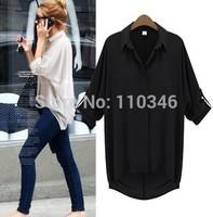 Women Chiffon Blouse Turn-down Collar Irregular Long Sleeve Shirts Casual Loose Big Yards Candy Color Women Blusa M L XL 110346