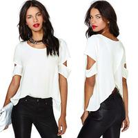 New Fashion women t shirt Chiffon Blouse blusa Sexy Wrap Back Cutout tops for women Short Sleeves Crew Neck Casual Tops White