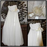 Beautiful Empire Waist Chiffon & Lace Beach Wedding Dress Romantic Bridal Gown with Flower & Sash