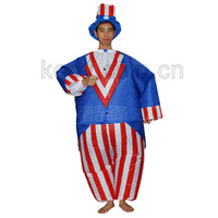 2014 new free shipping inflatable american flag patriotic costume for adult halloween party costumes