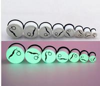 1 Pair 2014 Promotion Fashion Design 6-20 mm Body Jewelry Ear Piercing Tunnels Plugs Night Light High Quality EK154