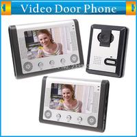 7 Inch Video Door Phone Doorbell Intercom Kit 1-camera 2-monitor Night Vision Little Rain Oxidation-proof Electric Lock-control