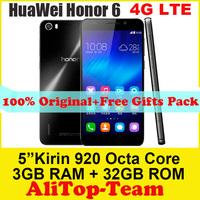 "Original Huawei Honor 6 Hisilicon Kirin 920 1.7GHz 4G FDD LTE Octa Core 3GB RAM 5.0"" FHD 1920x1080P 13MP Android 4.4 4G Phone"