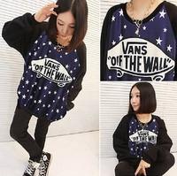 New 2014 Autumn Fashion Hot Sales Cotton  women Loose Casual Pullovers  Print long-sleeved O-neck t shirt hoodies sweatshirt 913